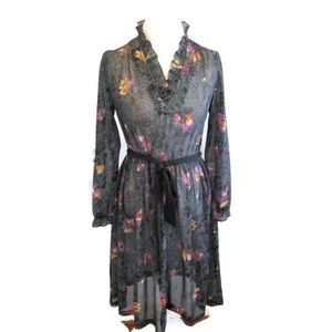 Vtg Sheer Floral Midi Dress Black Fits 6 to 8